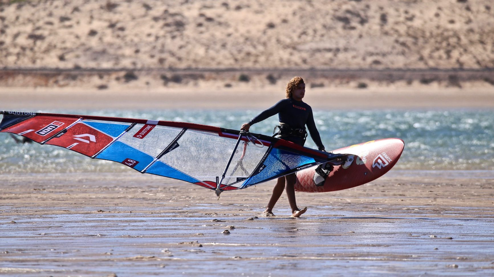 Wind surf on beach dakhla